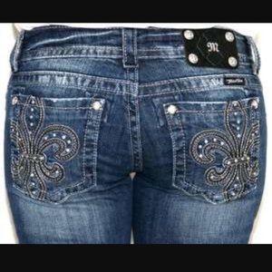 Miss Me Blingy Fleur De Lis Crop Jeans